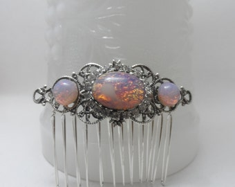 Fire Opal hair comb pink GLASS opal comb silver comb hair accessories hair jewelry bridal accessories bridal hair comb wedding accessories