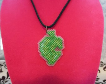 Animal Crossing Item Leaf Cross Stitched Necklace