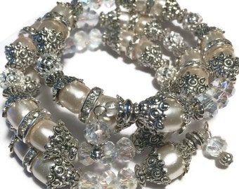 Wedding Crystals and Pearls Wrap Bracelet