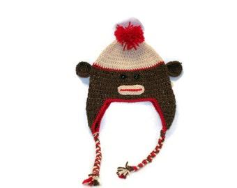 Crochet Sock Monkey Hat (teen size)