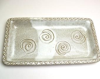 Rectangular Stoneware Serving Plate Southwest Swirls