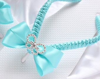 Aqua Blue wedding sandals. Bridal flip flops decorated w/ rhinestone butterfly, thongs, wedding shoes, fancy flip flops, beach sandals