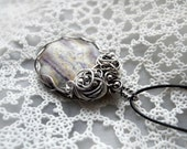 Wire wrapped necklace, silver necklace, indian Jasper, purple necklace, romantic lavender necklace for her