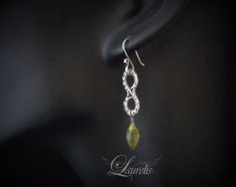 Gothic Victorian simple earrings - sterling silver, lemon quartz OOAK wedding bridesmaid gift sterling silver wirewrapped elegant