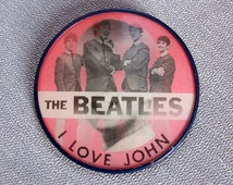 1960's Vari-vue Beatles Button / The Beatles - I Love John pinback button / John Lennon button / Vintage Beatles holographic button