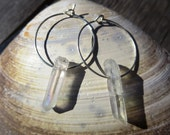 Crystal Quartz Hoop Earrings (small silver)