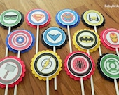 Super Hero Logo Cupcake Toppers - superhero batman captain america wonder woman marvel spiderman ironman comic birthday party decorations