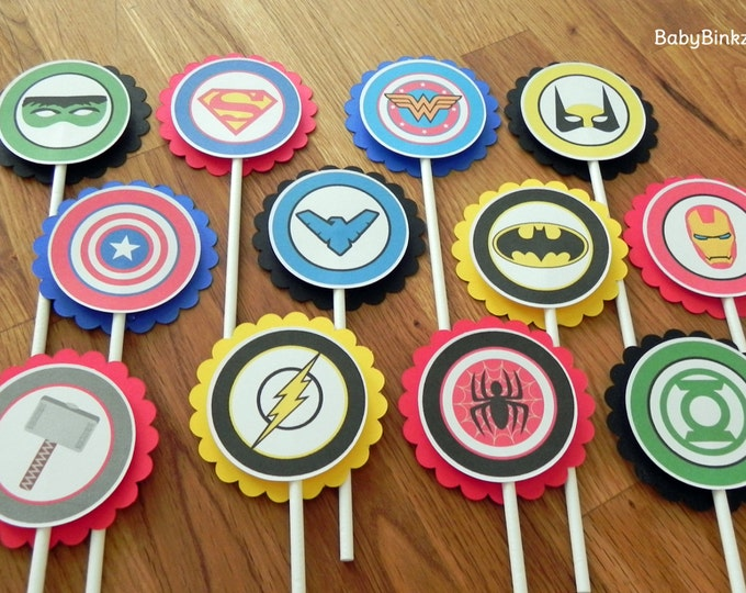 Super Hero Logo Cupcake Toppers - superhero batman captain america wonder woman marvel spiderman ironman comic birthday party decorations