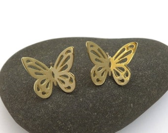 14k Gold Butterfly Earrings - Solid Gold Studs - Big Gold Studs - Animal Jewelry