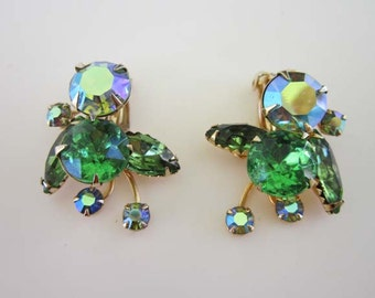 Beau Jewels Bright Spring AB Green Rhinestone Gold tone Earrings Clip on