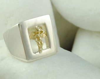Love in a Window Ring (S) - Solid Sterling Silver and Solid 14K Gold, FREE Shipping