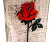 Handmade Greeting Card, Friendship, Ruby Red Rose, Gray And Silver Foil, Die Cut