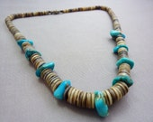 Necklace Vintage Turquoise and Shell Heishi Native American Necklace