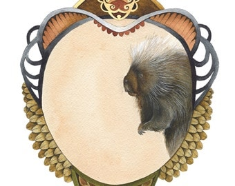 Quilted Forest: Samuel the Porcupine // 5x7 Art Print // Forest Illustration