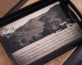 Scripture Art - Handcrafted Serving Tray - Matthew 7:24-27
