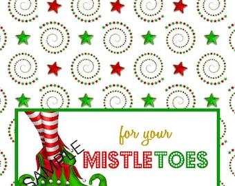 Mistletoes Mistle toes Holiday Bag topper Instant Download Digital File