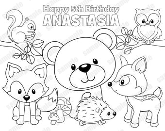 Personalized Printable Woodland Forest Animals Deer Fox Birthday Party Favor Childrens Kids Coloring Page Activity PDF