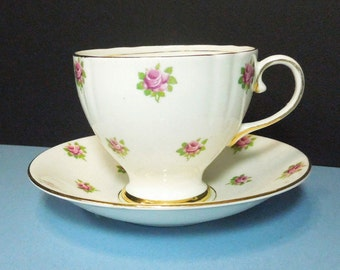 Old Royal bone china footed tea cup saucer with pink roses - Old Royal English pink rose teacup and saucer
