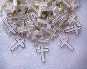 "SALE 144 pcs White Plastic Cross for Baptism, Christening Confetti, Embellishments, Crafting, Scrapbooking, Table Scatter  -  1/2"" W, 3/4"" H"