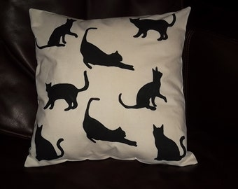 Whimsical Black Cat pillow 14X14 pillow form included