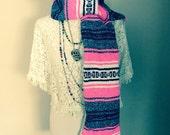 Wool Hippie Mexican Fringe Baja Ethnic Gypsy Scarf