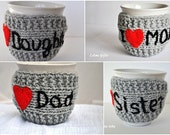 Mug Cozy set of 4,  Knitted Mug Cozy, Personalized Mug Cozy, red heart, grey color, travel cup cozy, Christmas gift