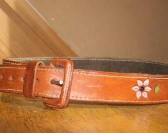 Hand Painted Vintage Leather Belt