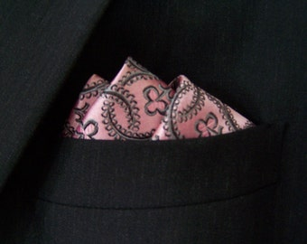 Pink Silk Pocket Square, Wedding Party Accessory, Mauve Pink Hand stitched Silk Pocket Square