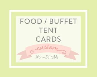 FOOD BUFFET CARDS - tent fold, printable file, a la carte