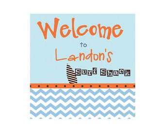 CHEVRON SURFER, PERSONALIZED Printable Welcome Sign, Orange and Blue Chevron