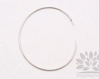 A332-01-R// Rhodium Plated 1.2mm Thick Simple Bangle Bracelet, 2pcs