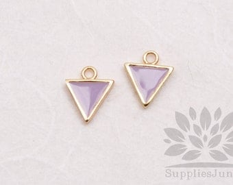 P618-02-G-LL// Gold Plated 8mm Lilac Epoxy Triangle Pendant, 2 pcs