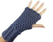 Blue Fingerless Gloves with individual finger holes