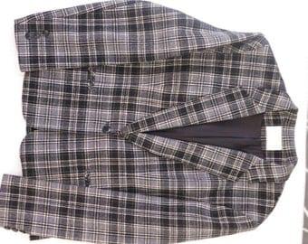 Vintage 80's Preppy Wool Plaid Pendleton Blazer Sport Suit Jacket, Size M-L