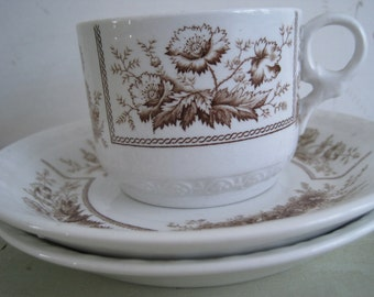 1800s victorian johnson brothers antique sylvan brown transferware ironstone cup and 2 saucers