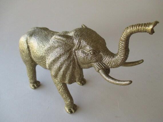 Gold Glitter Elephant Home Decor Figurine Up Cycled Knick
