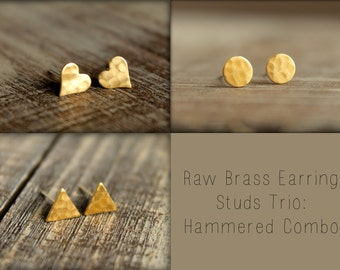 Raw Brass Earring Studs Trio: Hammered Combo