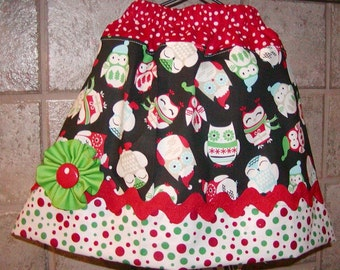 Girls Skirt Custom..Christmas Hooty Owl..Available in 0-12 months, 1/2, 3/4, 5/6, 7/8, 9/10 Bigger Sizes Available
