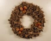 Fall Wreath // Upcycled Burlap Wreath // Nut Wreath // Holiday Wreath // Year Round Wreath // Burlap Wreath // Upcycled Burlap