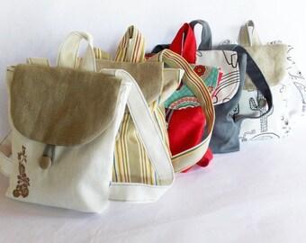 Striped canvas  backpack, children bag, mini backpack rucksack, girl bag, canvas kid backpack
