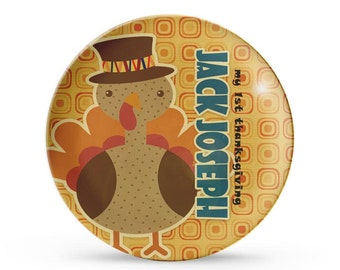 Childrens Thanksgiving Plate, First Thanksgiving Plate, Personalized Turkey Melamine Dish, Holiday Melamine Plate