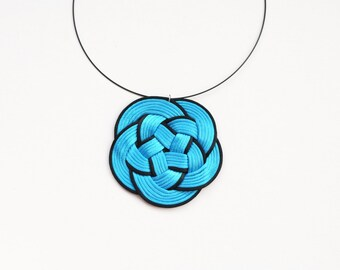 Turquoise necklace, flower necklace, statement necklace, knot necklace, scuba blue necklace, turquoise and black, gift idea, summer trends