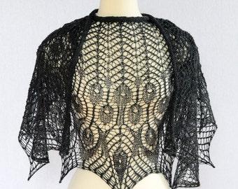 HANDKNIT LACE SHAWL Gift For Her Beaded Black Czech Glass Merino Wool Italian Yarn Elegant Wrap Stole Cowl Cape Scarf Gamayun Bird