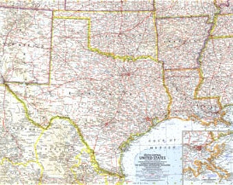 1961 United States Map South Central United States 25 x 19