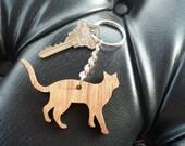 Wooden Laser Cut Cat Keychain