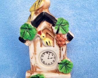 Vintage kitsch cuckoo clock wall pocket planter ceramic figurine