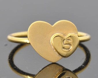 Double Heart Initial Ring, Heart Ring, Initial Ring, Sterling Silver Ring, Custom Made, One of A Kind, Heart Jewelry, Initial Jewelry