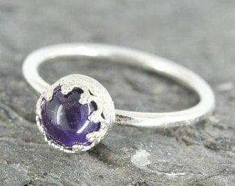 Amethyst ring, 6mm, flower bezel, february birthstone, stacking ring, gemstone ring, sterling silver ring
