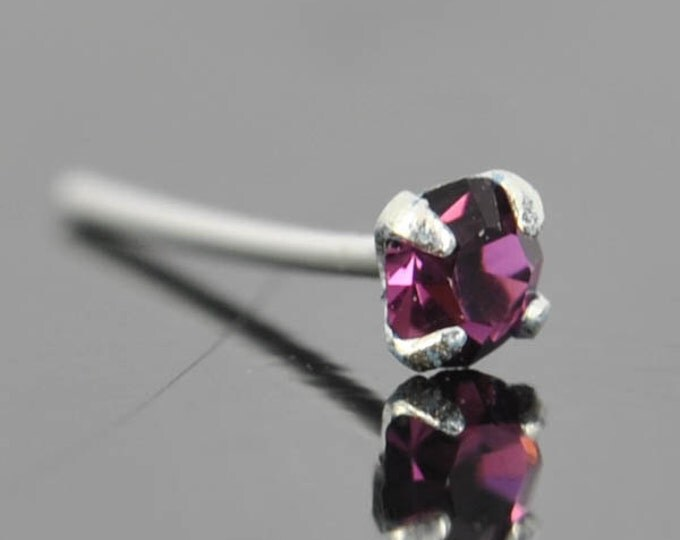 Nose Ring, crystal nose ring, crystal, sterling silver, nose stud, nose piercing, nose jewelry, body jewelry, 1mm, 1.5mm, 2mm, 2.5mm