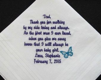 Embroidered Father of the Bride Personalized Wedding Handkerchief